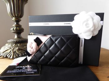 Chanel Small O Case Zip Pouch in Black Lambskin with Baby Pink Camellia Flower - SOLD