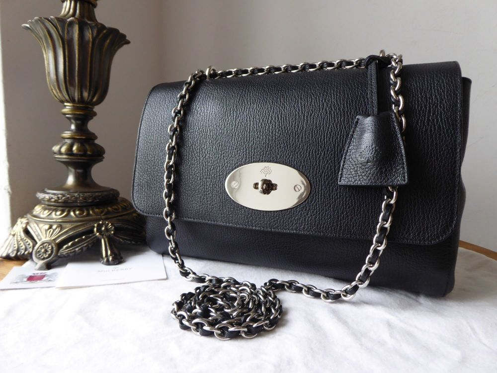Mulberry Medium Lily in Black Grainy Print Leather with Silver Nickel Hardw