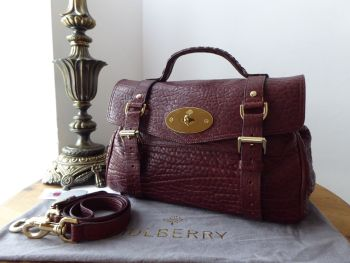 Mulberry Alexa Regular Satchel in Oxblood Shrunken Calf Leather