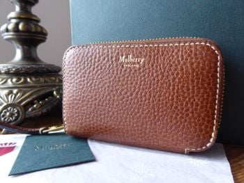 Mulberry Multi Card Zip Around Card Coin Purse in Oak Grained Vegetable Tanned Leather - SOLD