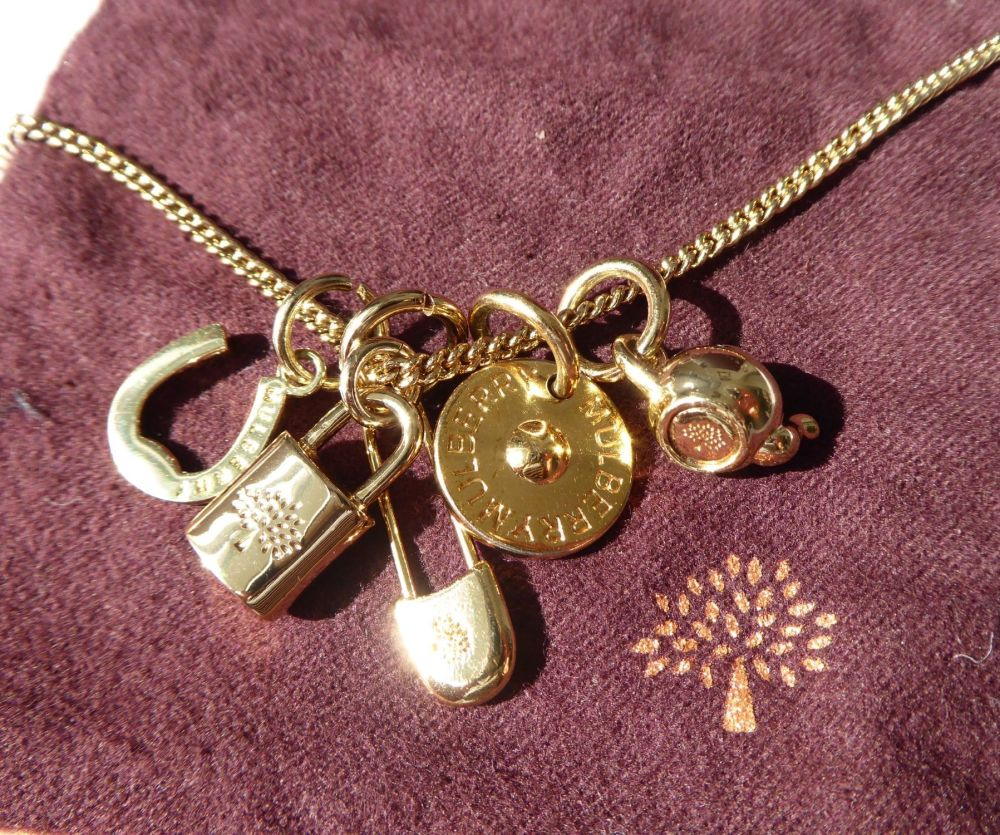 Mulberry Padlock and Charms Gold Plated Necklace