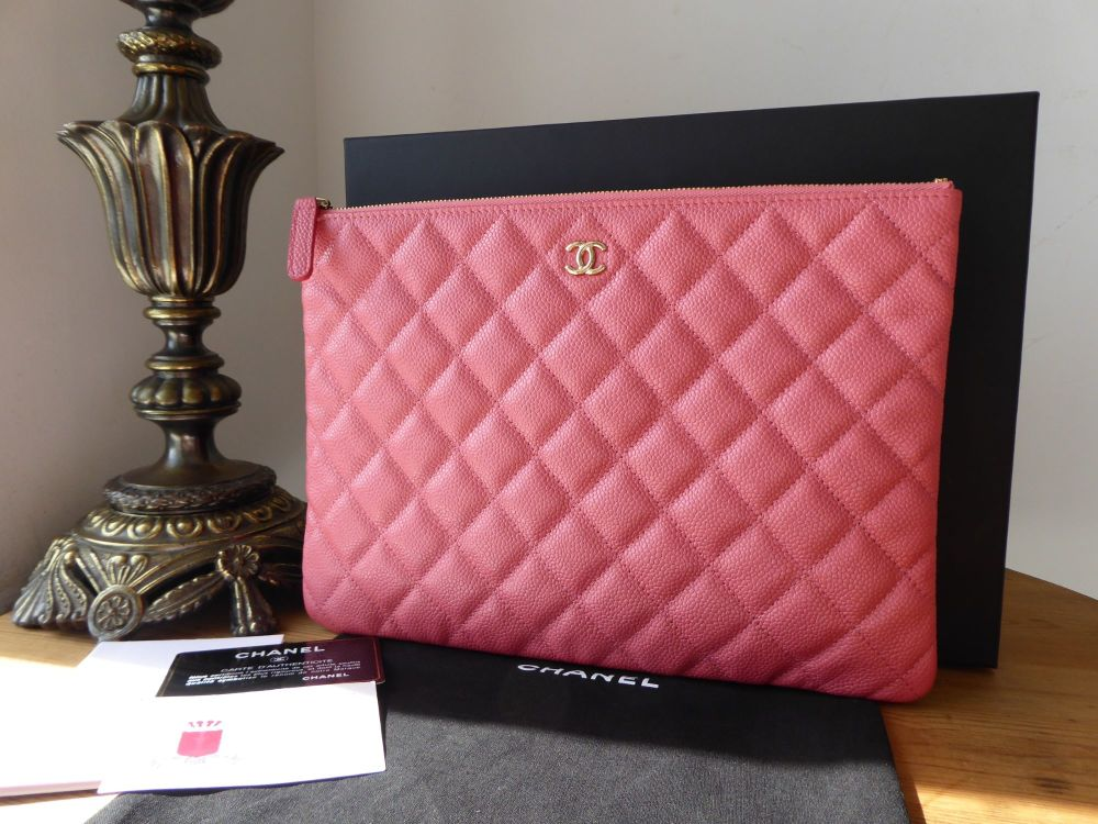 Chanel Classic Medium Zip Pouch O Case in Blush Pink Iridescent Caviar with