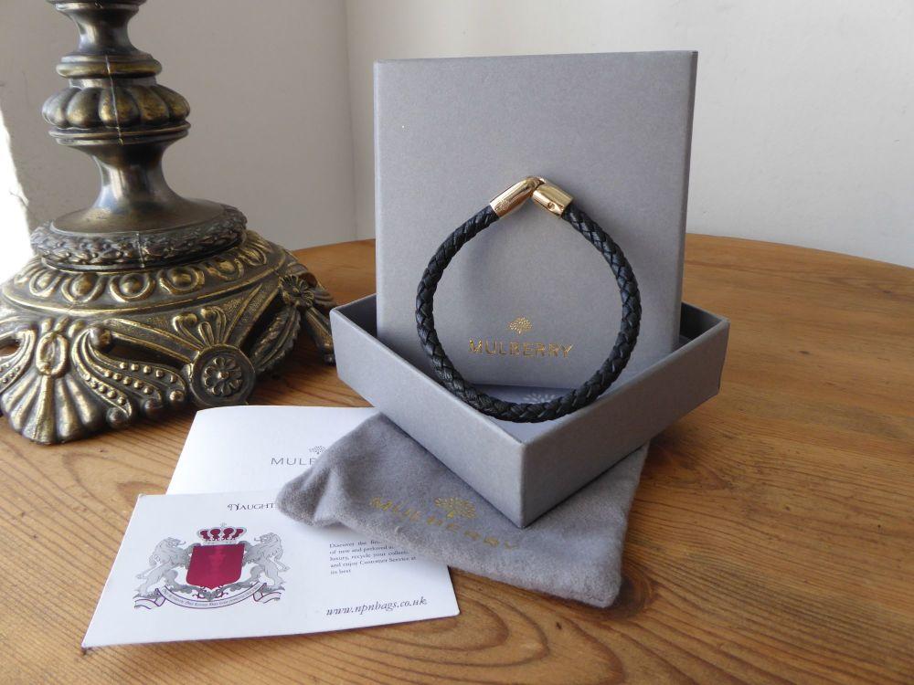 Mulberry Tubular Plait Bracelet in Black Glossy Goat with Gold Tone Hardwar