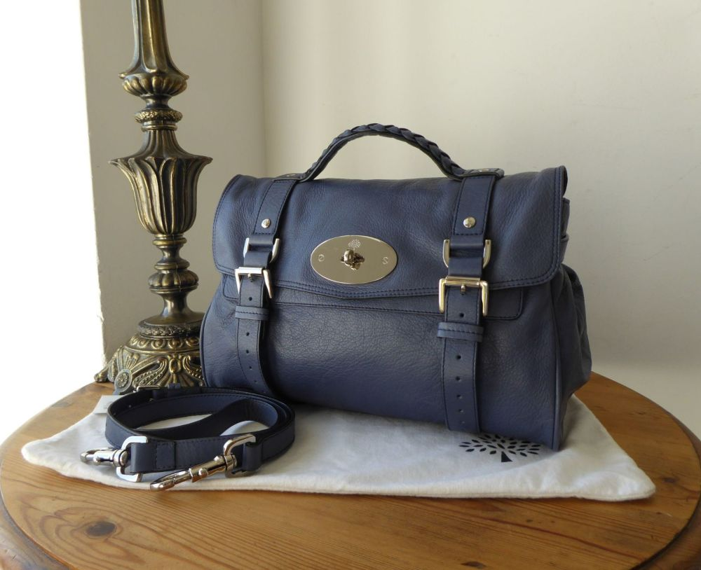 Mulberry Regular Alexa Satchel in Slate Blue Soft Buffalo Leather (Substand