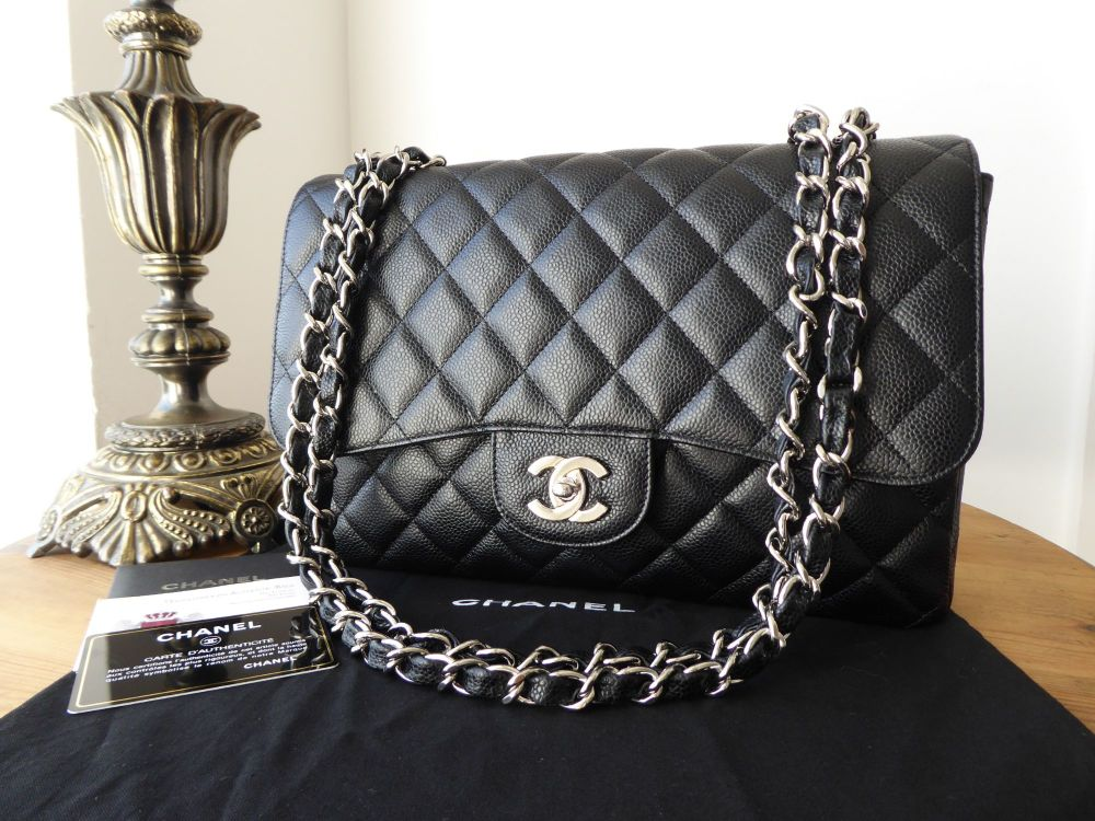 1bf9153243e158 Chanel Classic Quilted Single Jumbo Flap in Black Caviar with Silver Hardwa