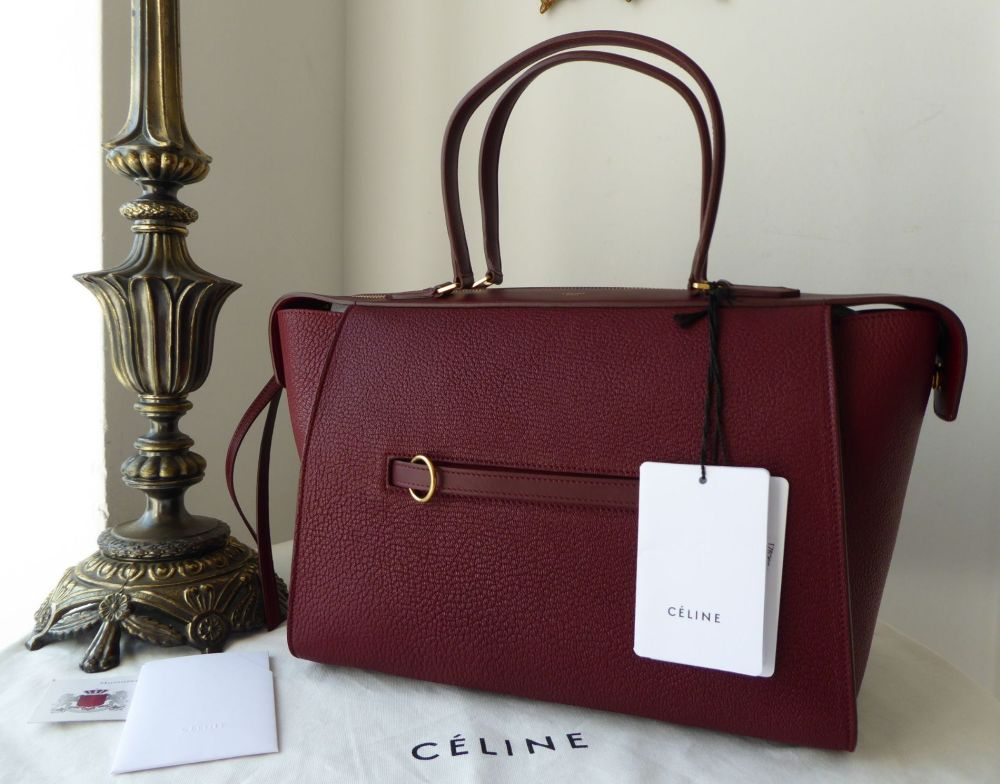 CÉLINE Small Ring Bag in Dark Ruby Chevre Goatskin with Calfskin Trims - Ne