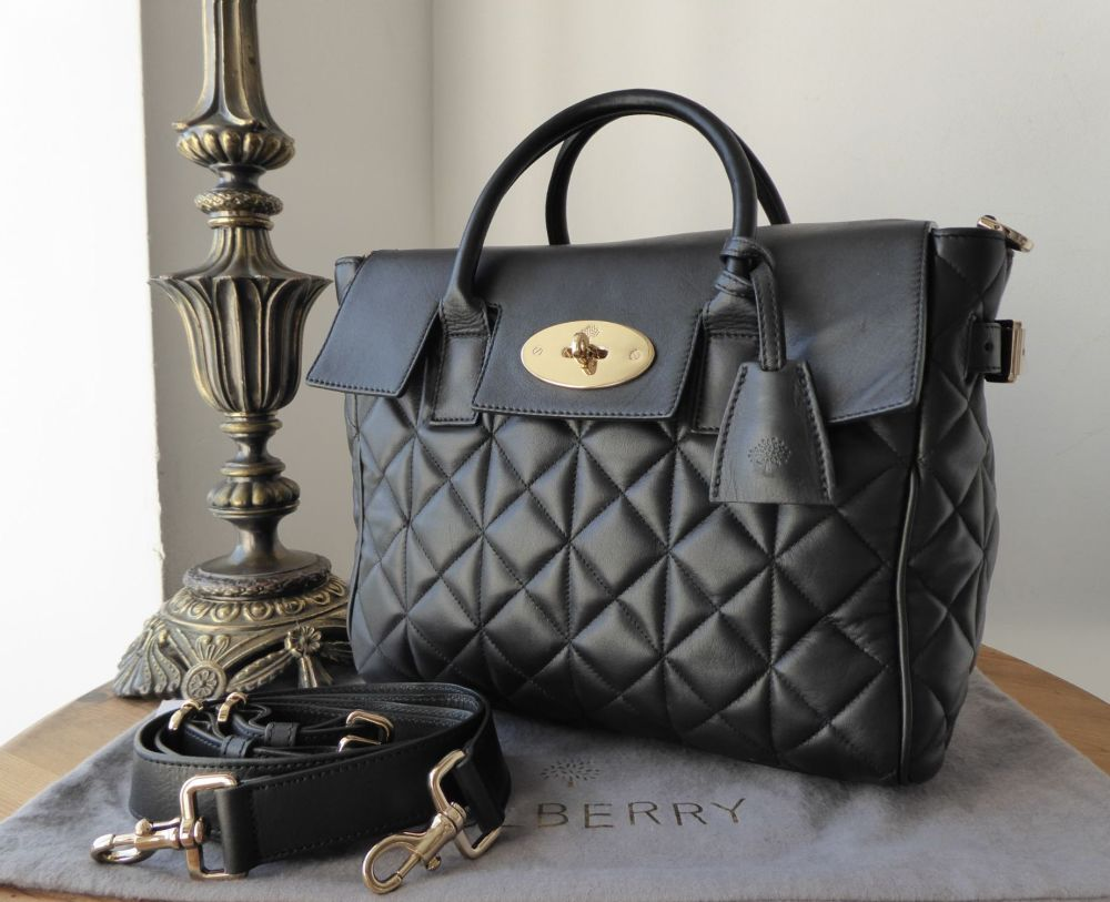 Mulberry Cara Delevingne Medium Backpack Bag in Black Quilted Lamb Nappa