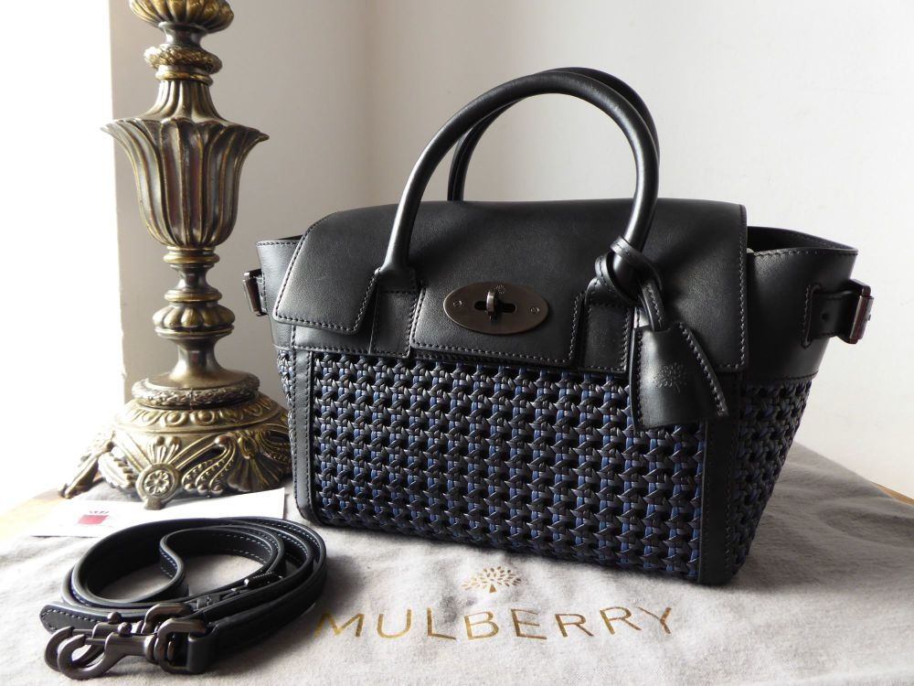 Mulberry Small Buckle Bayswater in Woven Leather with Gunmetal Hardware
