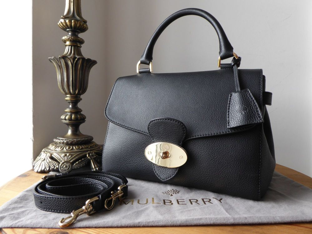 Mulberry Primrose in Black Grainy Print Leather with Gold Hardware
