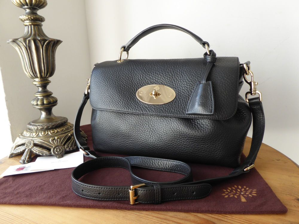 Mulberry Postmans Lock Satchel in Black Spongy Pebbled Leather
