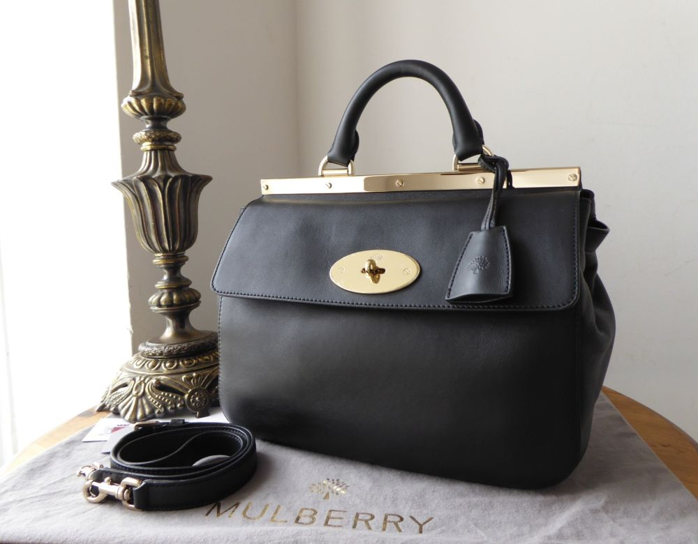 Mulberry Suffolk (Smaller Sized) in Black Silky Classic Calf Leather