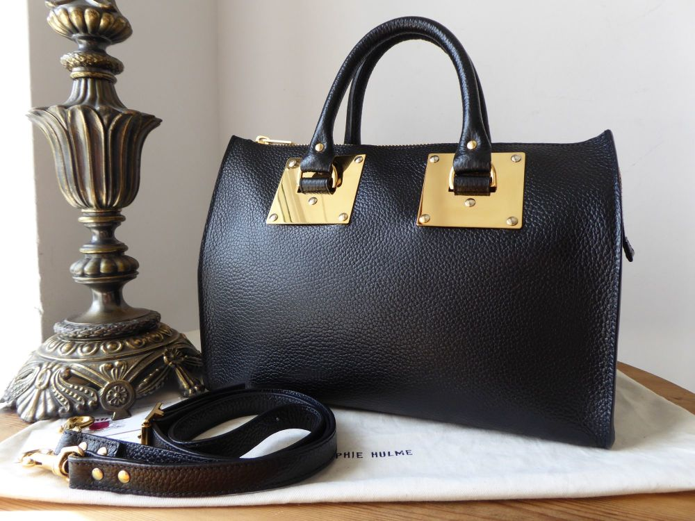 Sophie Hulme 'Mini' Zip Top Bowling Bag in Black Stamped Leather
