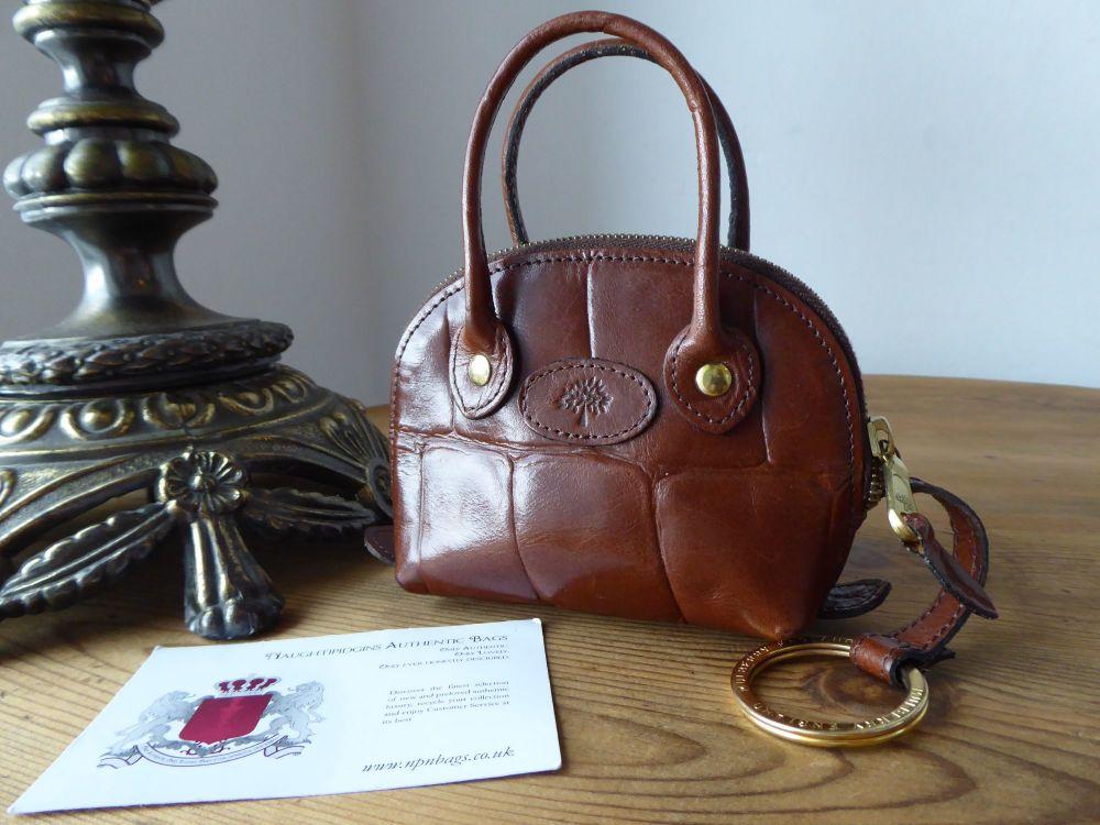 Mulberry Shrunken Breton Charm Micro Bag Key Pouch in Chestnut Congo Leathe