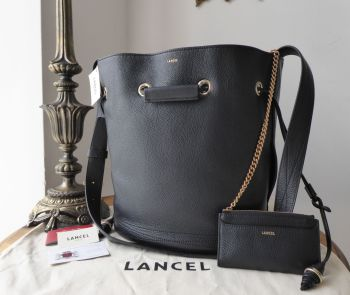 da07944230 LANCEL Le Huit de Lancel Bucket Bag in Bleu Marine Navy Blue Grained Leather  - New