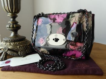 Mulberry Regular Lily in Scribbly Floral Patent Leather with Dark Shiny Gunmetal Hardware - SOLD
