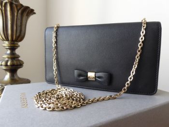 Mulberry Bow Shoulder Clutch Wallet on Chain in Black Silky Classic Calf