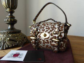 Mulberry Shrunken Alexa Micro Bag Oversized Charm Key Pouch in Oak Reverse Printed Metallic Leopard