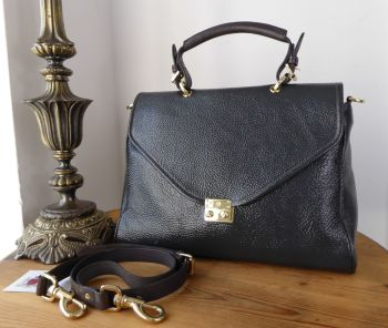 Mulberry Large Neely Satchel in Steel Grey Spongy Pebbled Patent Leather - SOLD