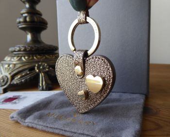 Mulberry Heart Studded Keyring in Metallic Mushroom Goat Leather - SOLD