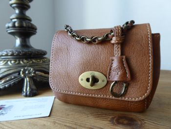 Mulberry Shrunken Micro Lily Oversized Charm Key Pouch in Oak Natural Leather - SOLD