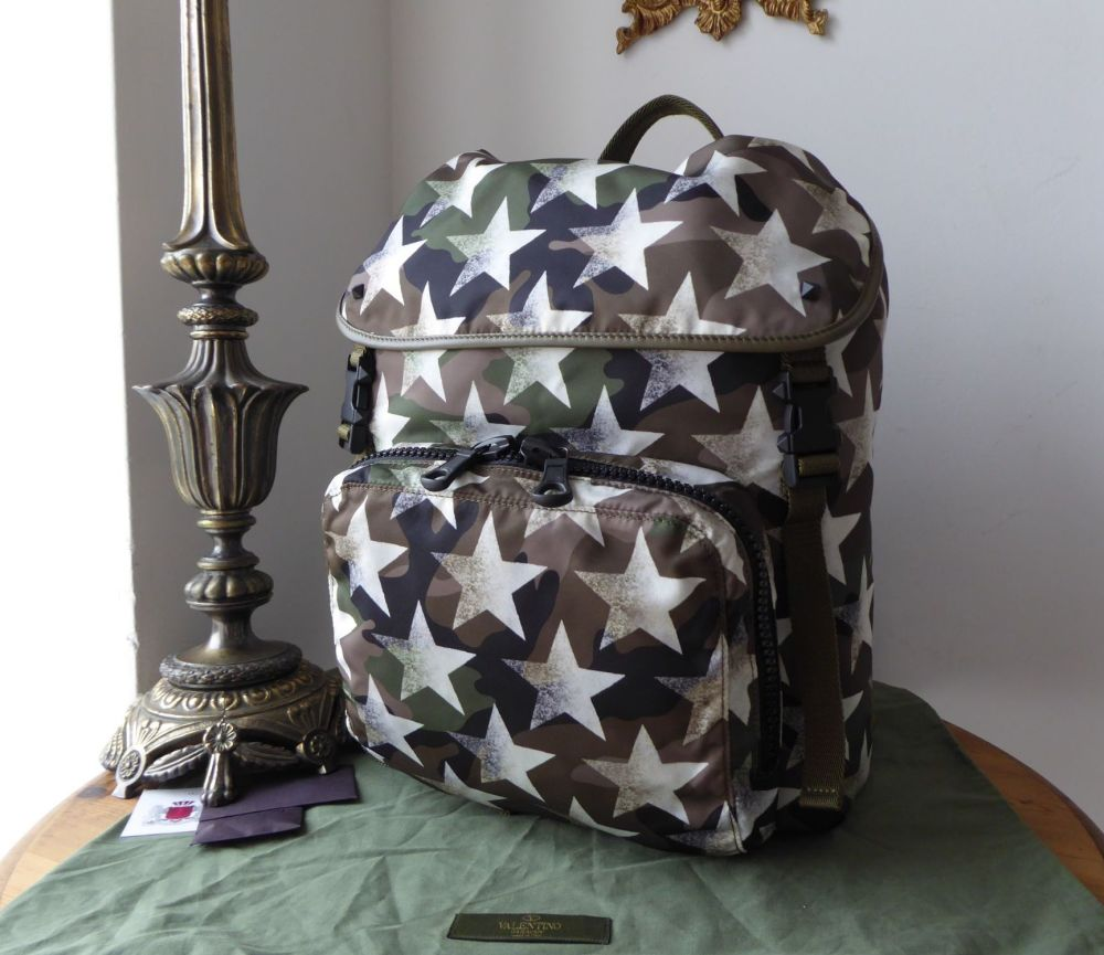 Valentino Garavani Camouflage Star Backpack in Khaki Green Nylon & Calf Lea