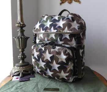 Valentino Garavani Camouflage Star Backpack in Khaki Green Nylon & Calf Leather - New