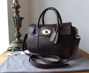 Mulberry Classic Heritage Small Bayswater Satchel in Chocolate Natural Vegetable Tanned Leather