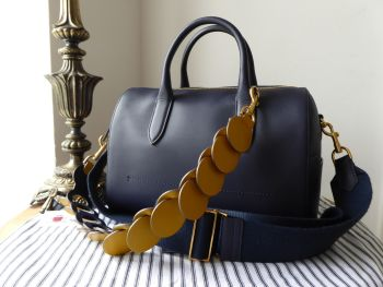 Anya Hindmarch Vere Barrel Bag in Marine Blue Mini Grain Calfskin with Canary Yellow Link Strap - SOLD