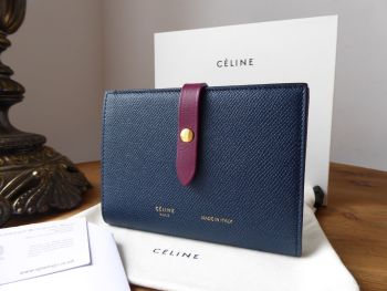 Celine Medium Strap Wallet In Bicolour Navy & Burgundy Calfskin - SOLD