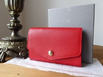 Mulberry Dome Rivet French Purse in Bright Red Shiny Goat Leather - SOLD