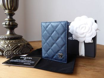 Chanel Folded Card Holder in Iridescent Blue Caviar with Pale Gold Hardware - SOLD