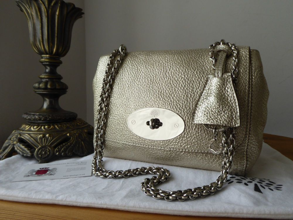 Mulberry Regular Lily in Champagne Moon Metallic Leather