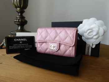 Chanel Classic Card Holder in Pearly Pink Iridescent Caviar - SOLD