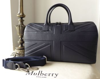 Mulberry Union Jack Flag Embossed Reston Holdall Duffle in Midnight Blue Small Classic Grain - SOLD