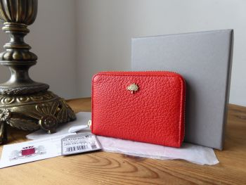Mulberry Tree Compact Zip Around Purse Wallet in Fiery Spritz Small Classic Grain  - New