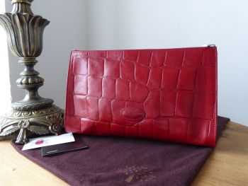 Mulberry Zipped Wash Bag / Toiletry / Cosmetic Case in Red Congo Leather - SOLD