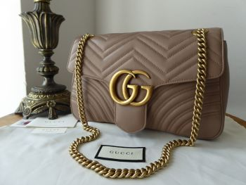 Gucci GG Marmont Medium Shoulder Bag in Porcelain Rose Matelassé Calfskin - SOLD