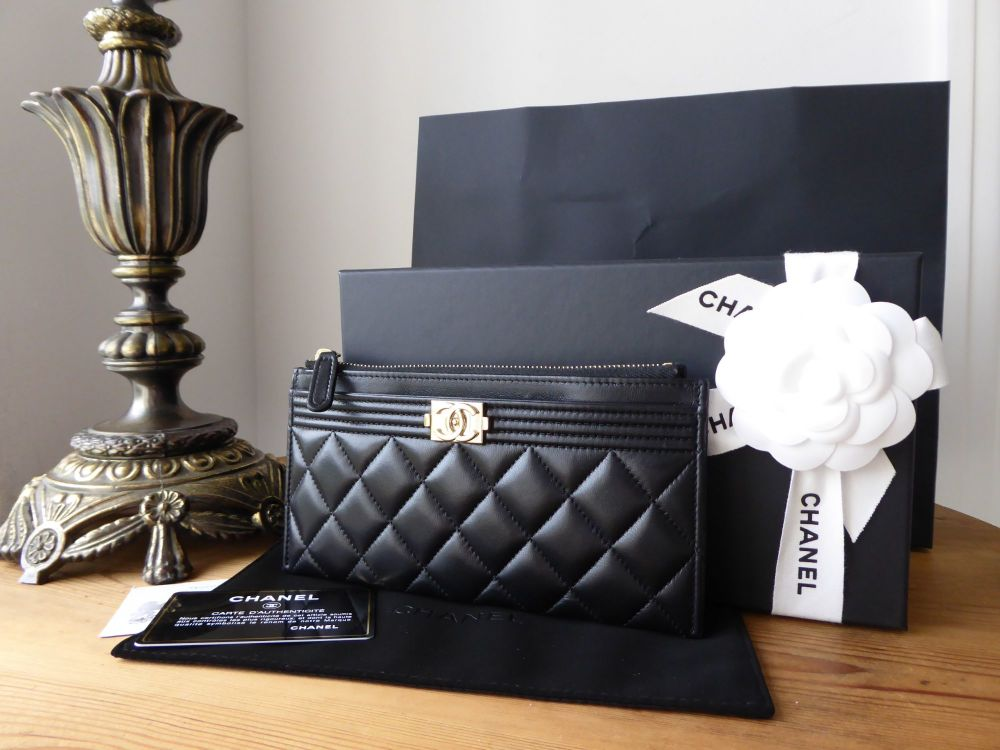 Chanel Boy Zip Pouch in Black Quilted Lambskin with Gold Hardware