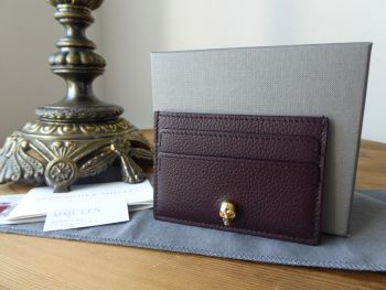 Alexander McQueen Skull Card Slip Holder in Oxblood Grain Calf Leather - SOLD