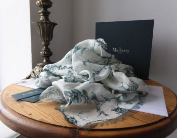 Mulberry Solomon's Seal Square Printed Wrap Scarf in Antique Blue Modal Linen Silk Mix - New