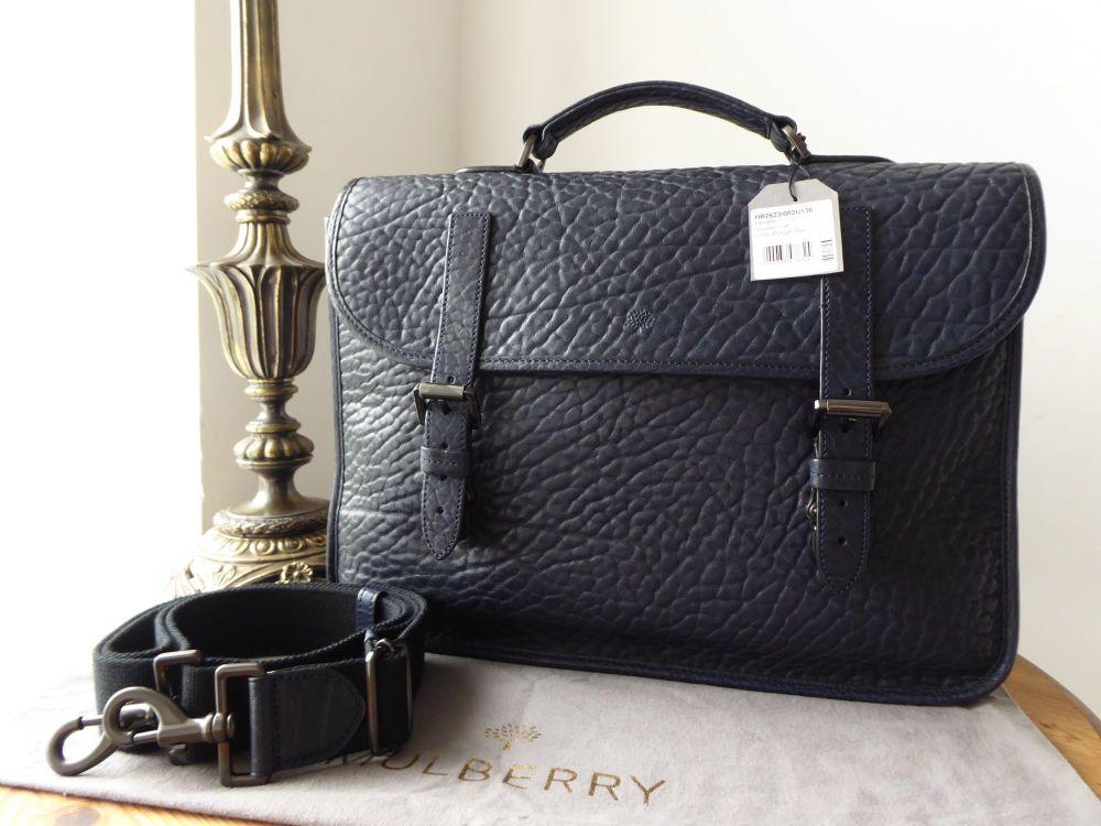 Mulberry Elkington Briefcase in Midnight Blue Shrunken Calf Leather (Substa