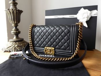 Chanel Boy Old Medium in Black Caviar with Antiqued Gold Hardware - SOLD