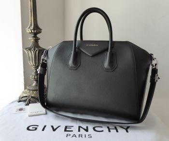 Givenchy Antigona Sugar in Black Goatskin with Silver Hardware - SOLD