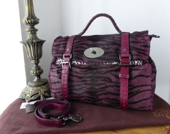Mulberry Oversized Alexa Satchel in English Plum Bengal Tiger Mixed Haircalf - SOLD