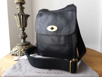 Mulberry Small Classic Antony in Black Natural Vegetable Tanned Leather - SOLD