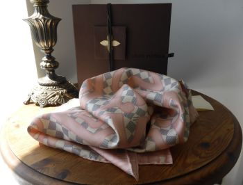 Louis Vuitton Silk Square Scarf in Tahitienne Rose Damier Azur - SOLD