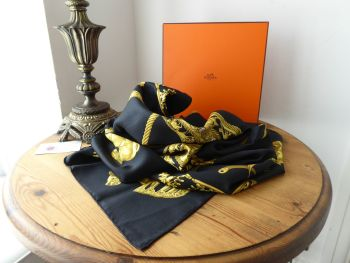 Hermès Silk Scarf Carre 90cm 'Les Cavaliers D'Or' in Black - SOLD