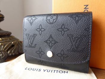 Louis Vuitton Iris Compact Wallet in Mahina Noir with Silver Tone Hardware - SOLD