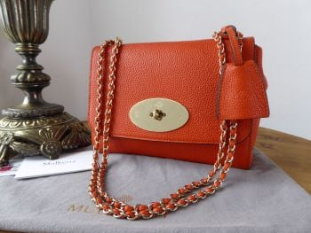 Mulberry Regular Lily in Mandarin Orange Small Classic Grain with Felt Liner - New
