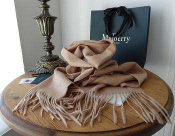 Mulberry Traditional Fringed Rectangular Winter Scarf in Camel 100% Cashmere - SOLD